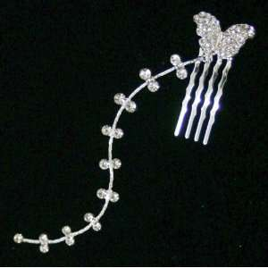 Mini Crystal Butterfly Hair Comb w. Dangling Strand