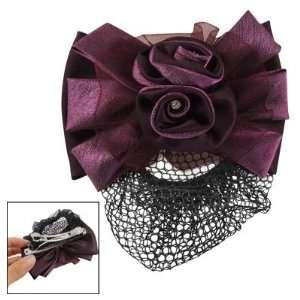 Rhinestone 3D Flower Snood Hair Net Barrette