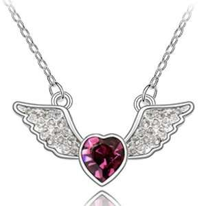 Angel Heart 18k Gold Plated Heart Shaped Swarovski Crystal Necklace