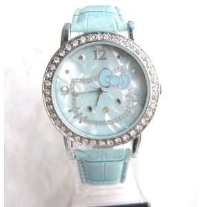HELLO KITTY fashion Lady Rhinestone watch in Blue