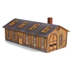 Trains N Scale Wood Locomotive Shed Laser Cut Wood Kit Toys & Games