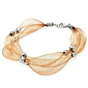 Rose Gold Over Sterling Silver Italian Mesh Bracelet (7.5