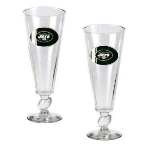 New York Jets NFL 2pc Pilsner Glass Set with Football on stem   Oval