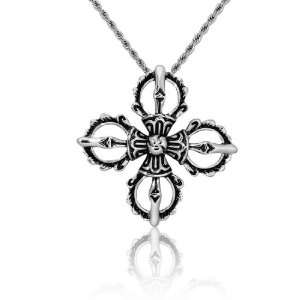 Mens Stainless Steel 22 Inch Cross Pendant Chain Necklace Jewellery