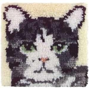 Wonderart Latch Hook Kit 12X12 Cat Arts, Crafts