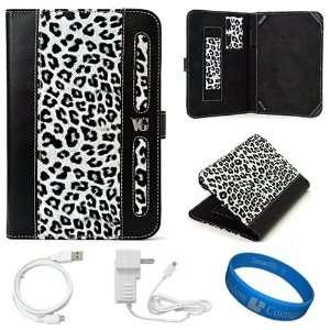 White Leopard Executive Leather Folio Case Cover for  Kindle