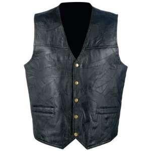 Mens Black Motorcycle Leather Vest Dillagaf Logo Biker New