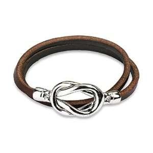 Steel Knot Double Wrap Leather Bracelet (Brown) West