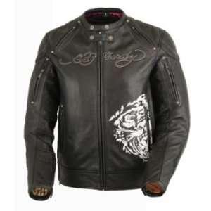 Ed Hardy Life Black Leather Motorcycle Jacket Automotive