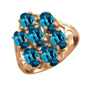 3.85 Ct Oval London Blue Topaz 14k Rose Gold Ring Jewelry