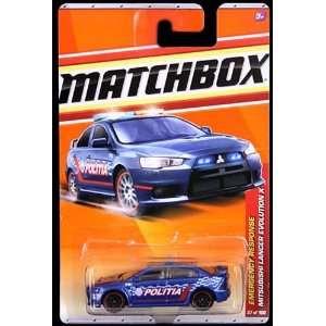 2010 2011 Matchbox BLUE police MITSUBISHI LANCER EVOLUTION X emergency