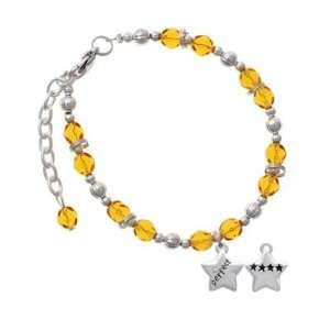 Crystal and 4 Stars Yellow Czech Glass Beaded Charm Bracelet Jewelry
