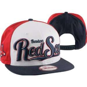 Boston Red Sox New Era Script Wheel Snapback Adjustable Hat