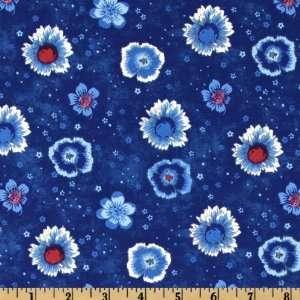 44 Wide Flower Power Blue Florals Dark Blue Fabric By