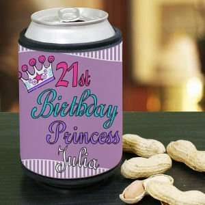 Personalized 21st Birthday Princess Can Wrap Koozie