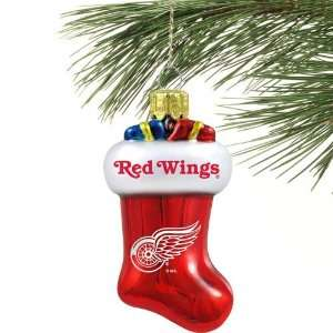 Detroit Red Wings Red Blown Glass Stocking Ornament