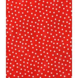 White on Red Polka Dots Oilcloth Fabric: Arts, Crafts