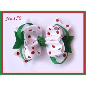 Bow   5.5   White With Red Polka Dots   Green Rings