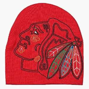 Chicago Blackhawks Oversized Embroidered Logo Cuffless Knit Beanie Hat