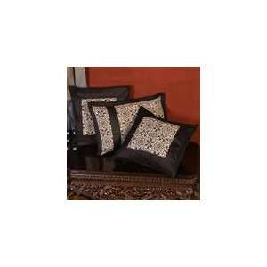Screen Print Ajrak Trendy Throw Pillow Cover Set   Black