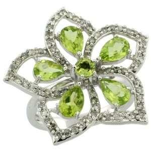 10k White Gold Large Flower Ring, w/ 0.60 Carat Brilliant Cut Diamonds