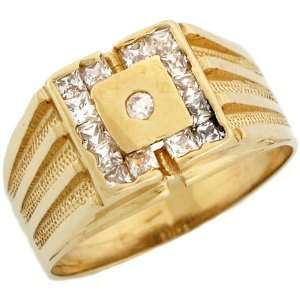 Yellow Gold Mens Ring Round Center Stone with Square Cut Halo Jewelry