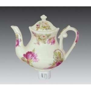 Pink & White Roses Porcelain Teapot Night Light