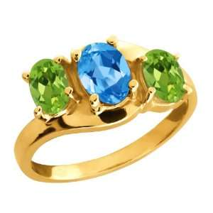 Ct Oval Swiss Blue Topaz and Peridot Gold Plated Silver Ring Jewelry