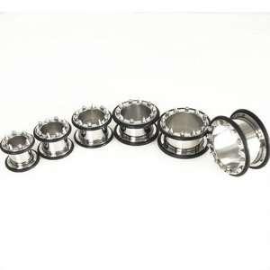 2 Pair 00 Gauge 1/2 Stainless Steel 316L Flesh Tunnel Ear