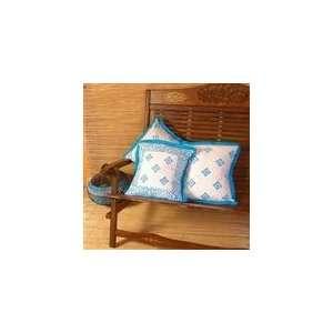 Blockprint Trendy Throw Pillow Cover Set   Blue