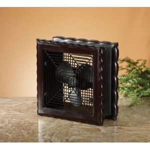 Wood Frame Fan (Dark Brown) (11H x 10W x 10D)