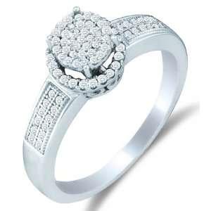 Size 11.5   10K White Gold Diamond Halo Engagement Ring   Flower Shape