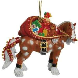 Brown Horse With White Mane And Feet Carrying Sack Of Toys Ornament
