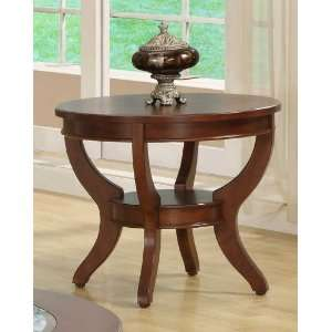 Round Accent End Table with Lower Shelf in Deep Cherry