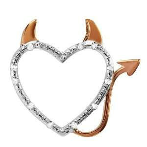 Sterling Silver Round Diamond Rose Gold Plating Devil Heart Ladies