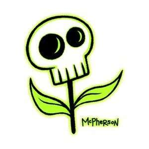 Tara McPherson   Green Skull Flower   Sticker / Decal