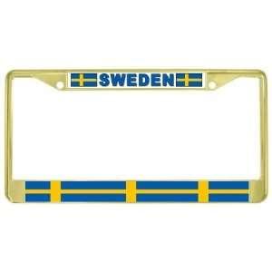 Swedish Flag Gold Tone Metal License Plate Frame Holder Automotive