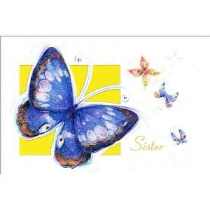 Sister Birthday Greeting Card   Blue Butterflies: Health