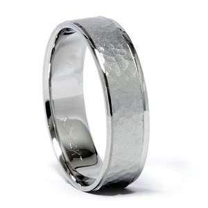 Hammered 14K White Gold Half Round Comfort Fit 6 MM Wedding Ring Band