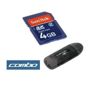 SanDisk 4GB SD Memory Card with Adapter + Black USB Memory Card Reader