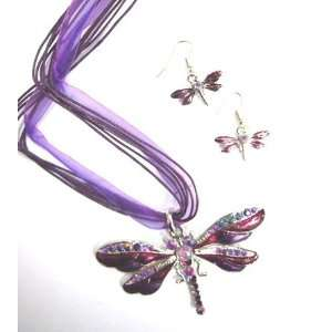Colorful Metal Pendant Necklace & Earrings Set   Dragonfly