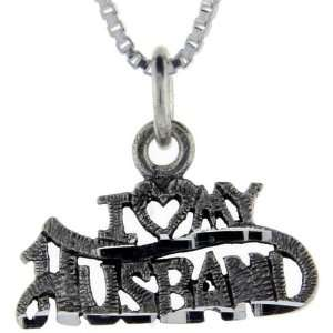 925 Sterling Silver I Love My Husband Talking Pendant (w/ 18 Silver