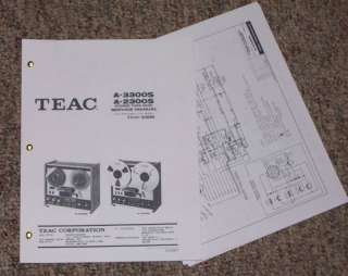 TEAC A 2300S Reel to Reel tape Deck Service Manual