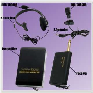 WIRELESS MICROPHONE TRANSMITTER + HEADSET + CLIP ON MIC