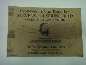 1942 STEVENS + SPRINGFIELD GUN PART/ACCESSORIES CATALOG