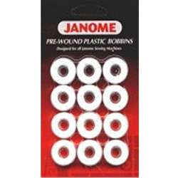 12 pre wound plastic bobbins. Designed for all Janome Sewing Machines.