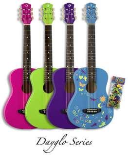 Luna Aurora Dayglo Childrens 3/4 size Acoustic Guitar   Pink
