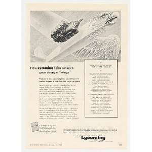 Lycoming Air Cooled Jet Engine Eagle Aircraft Print Ad Home & Kitchen