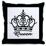 Queen Black Crown Throw Pillow for $20.00
