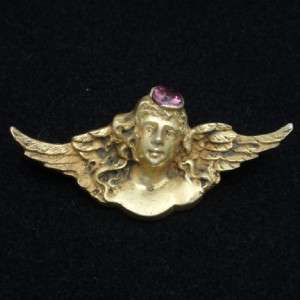 Art Nouveau Lady Angel Wing Pin Vintage Silver Amethyst